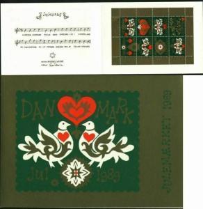Denmark. Christmas Seals 1989. Souvenir Folder. Birds.Heart