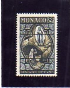 MONACO 1958 LOURDES 8 f Stained glass window showing apparition. APPARIZIONE MNH