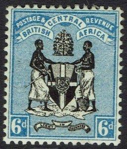 BRITISH CENTRAL AFRICA NYASALAND 1895 ARMS 6D NO WMK