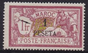 FRENCH MOROCCO 1902 MERSON 1 PESETA ON 1FR
