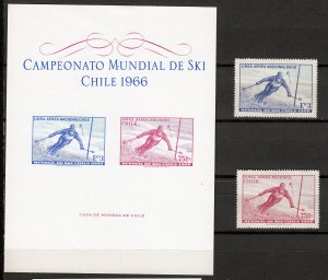 Z2923 1966 chile mnh mh set +mh s/s #c266-7 sports