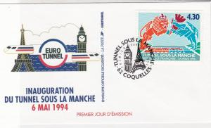 France 1994 Ch Tunnel Tower+Clock Pic Slogan Cancel + Stamp FDC Cover Ref 31722