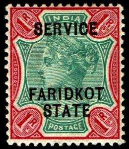 1896 India Faridkot  #O9 Official Wmk 39 - OGXLH - VF - CV$140.00  (ESP#4406)