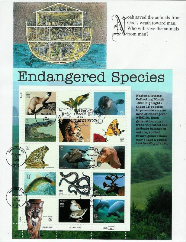 Endangered Species SET OF 2 SHEETS of 15 FDCs San Diego Zoo FW / S+T 30 Stamps!