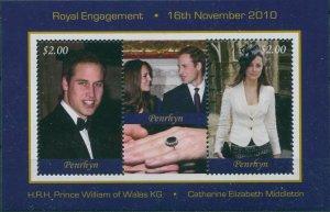 Cook Islands Penrhyn 2011 SG567 Royal Engagement MS MNH
