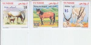 2019Tunisia Endangered Animals (2) - Addax, Pony, Oryx (3) (Scott NA) MNH