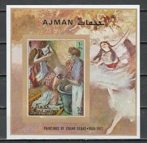 Ajman, Mi cat. 843, BL276 B. Edgar Degas Painting, IMPERF s/sheet.