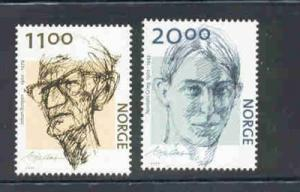 Norway Sc 1336-7 2002 Authors  stamp set mint NH