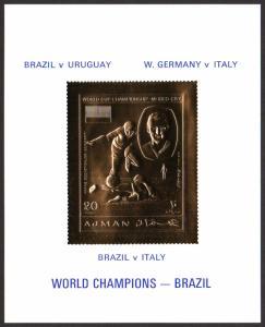 Ajman Mi Block 214 (#569) mnh s/s -1970 FIFA World Cup Mexico-Brazil - gold foil