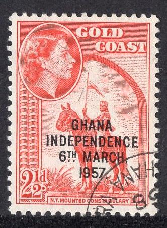 Ghana   #26  1958  used 2 1/2d. Goldcoast stamp with independence overprin t