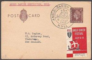 GB 1957 postcard ANGLO DANISH FESTIVAL cancel & cinderella..................B355