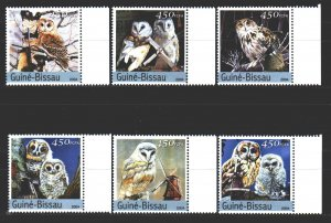 Guinea-Bissau. 2004. 2755-60. Owl, birds fauna. MNH.