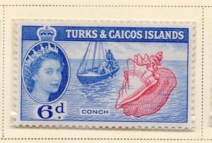 Turks and Caicos Islands 1957 Early Issue Fine Mint Hinged 6d. 168891