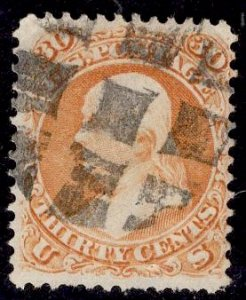 US Stamp #71 30c Franklin USED SCV $210. Wonderful block grid cancel