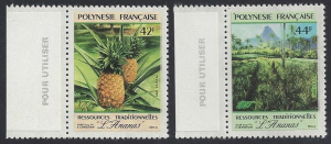 French Polynesia #555-6 MNH, set, pineapples, issued 1991