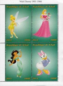 Chad 2014 Walt Disney Tinkerbell Sleeping Beauty Jasmine Cartoons 4v S/S. (#111)