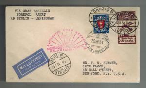 1931 Danzig Graf Zeppelin LZ 127 Icebreaker Malyguin Cover Polar Flight to USA