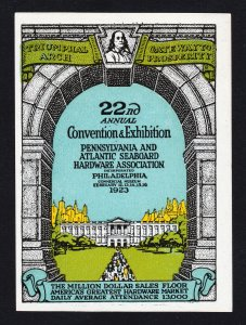 REKLAMEMARKE POSTER STAMP 22ND HARDWARE CONVENTION PHILADELPHIA PA 1923 MNH-OG