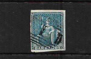 BARBADOS 1852-55    1d   BRITANNIA   FU      SG 3