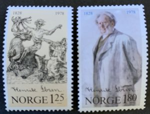 Norway 1978 #725-6 MNH. Henrik Johan Ibsen, drawing