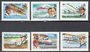 Turks & Caios, Sc 347-352, MNH, Aviation Progress