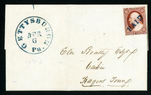 US Stamps # 10 VF Blue PAID Cancel Gettysburg, PA Fresh