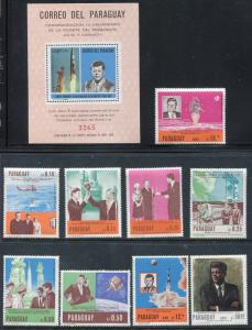 Paraguay 1041-1049, C317, MNH, Kennedy, Space exploration 9v, & S/S 1967 x18335