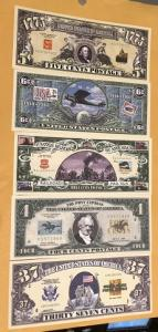 Novelty Currency Featuring US Postage Stamps, 2 each of 5 Different = 10 bills