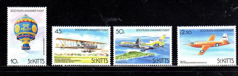 ST. KITTS #123-126  MANNED FLIGHT  MINT  VF NH  O.G