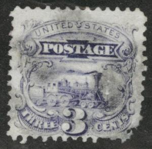 USA Scott 114 used 1869 stamp,locomotive Faulty filler