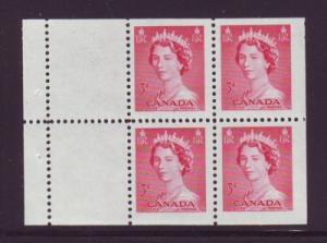 Canada Sc 327b 1953 3c QE II stamp booklet pane of 4 mint NH