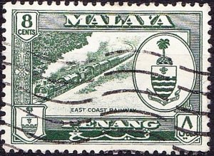 MALAYA PENANG 1960 8c Myrtle Green SG59 Fine Used