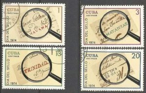 CUBA Sc# 1888-1891  STAMP DAY  philately CPL SET of 4  1974  used / cancelled