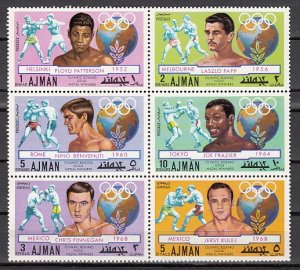 Ajman, Mi cat. 1054-1059 A. Olympic Boxing Medalists issue. ^