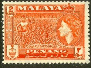 MALAYA PENANG 1957 QE2 2c PINEAPPLES Pictorial Sc 46 MNH