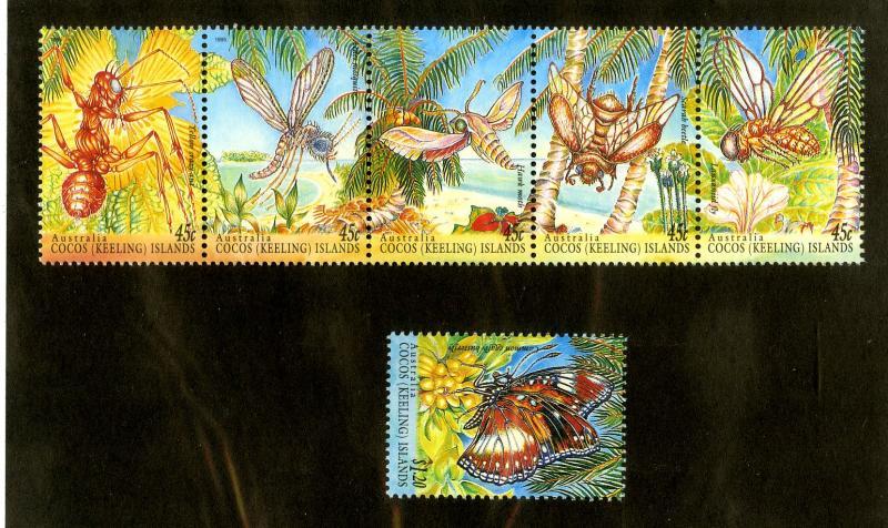 COCOS ISLAND 302-5 MNH STRIP OF 5 +1 SCV $8.75 BIN $4.50