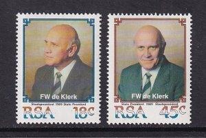 South Africa   #778-779  MNH  1989  de Klerk