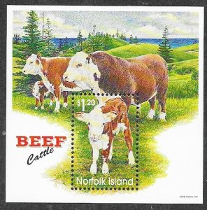 Norfolk Island 616 Mint NH MNH Souvenir Sheet Beef!