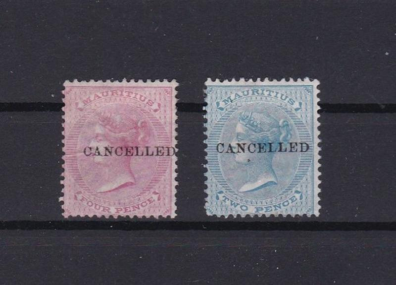mauritius cancelled overprint 1 xmounted mint and 1 x no gum stamps ref r11302