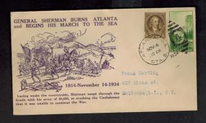 1934 GA USA General Sherman Burns Atlanta marches to Sea Anniversary Cover