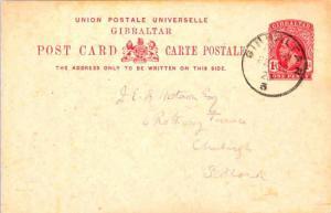 Gibraltar 1d KGV Postal Card 1920 Gibraltar, 3 to Edinburgh, Scotland.