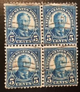 637 1922 Americans Series, 11x10.5 perf., Circ. block, Vic's Stamp Stash