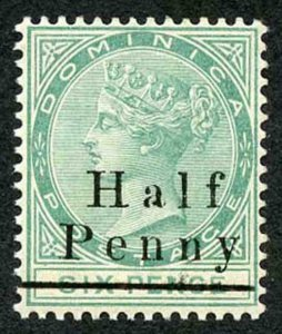 Dominica SG17 Half Penny on 6d Green U/M