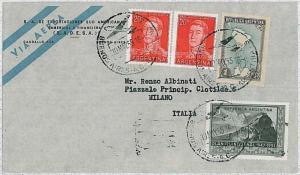 TRAIN - ARGENTINA - Postal History : AIRMAIL to ITALY - 1955