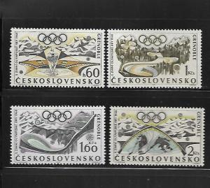 CZECHOSLOVAKIA, 1516-1519, MNH, FIGURE SKATING AND OLYMPIC RINGS
