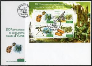 GUINEA 2015   100th ANNIV OF THE 2nd BATTLE OF YPRES WW I  SHEET FDC