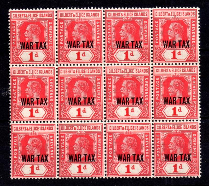 Gilbert & Ellice KGV 1d War Tax SG26 MNH block WS10312