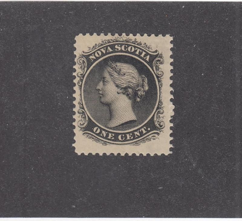 NOVA SCOTIA REF# KM17 # 8  VF-MH  1cts QUEEN VICTORIA BLACK CAT VALUE $20