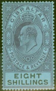 Gibraltar 1903 8s Dull Purple & Black-Blue SG54 Fine & Fresh Lightly Mtd Mint (6