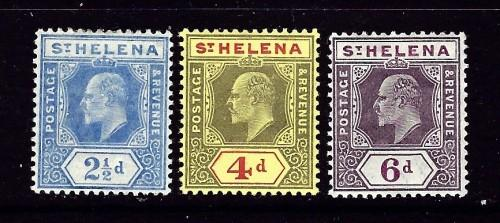 St Helena 56-58 Hinged 1908 partial set pencil mark on one